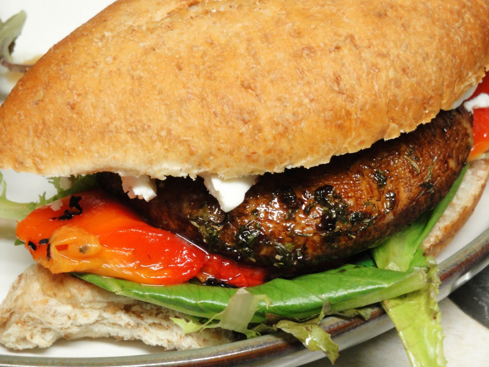 for grilled portobello mushroom and goat cheese sandwich with grilled ...