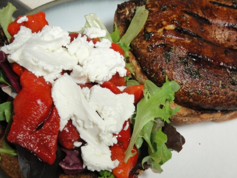 Balsamic Grilled Portobello Sandwiches with Goat Cheese & Red Peppers ...