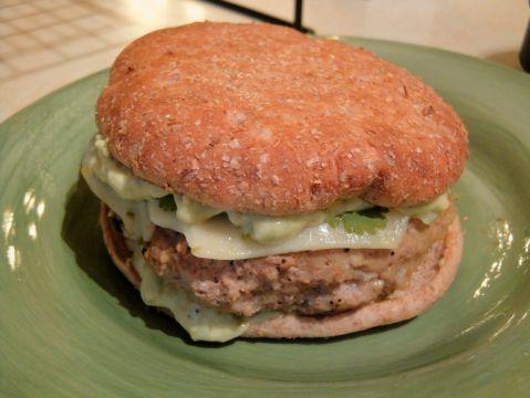 Salsa Verde Turkey Burgers with Avocado Aioli