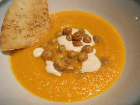 Carrot Soup with Tahini and Crisped Chickpeas |